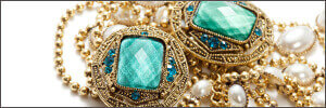 Antique aqua gemstone with pearl and gold necklace