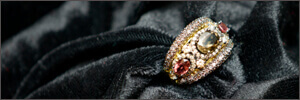 Gold antique ring setting with gemstones and diamonds