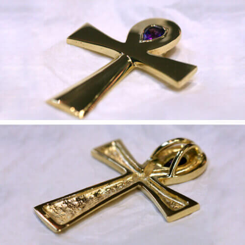 Gold Ankh with purple stone