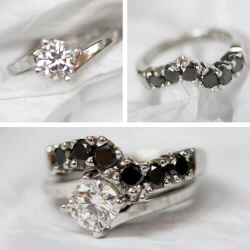 white diamond engagement ring with black diamonds band