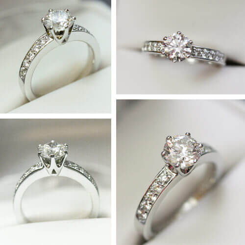 round cut diamond in crown-shaped setting