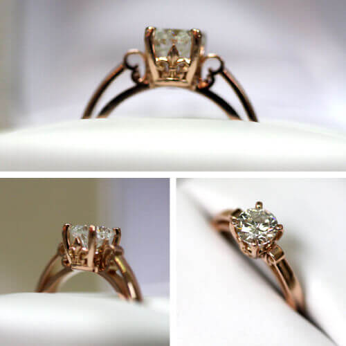 Diamond in rose gold, crown setting