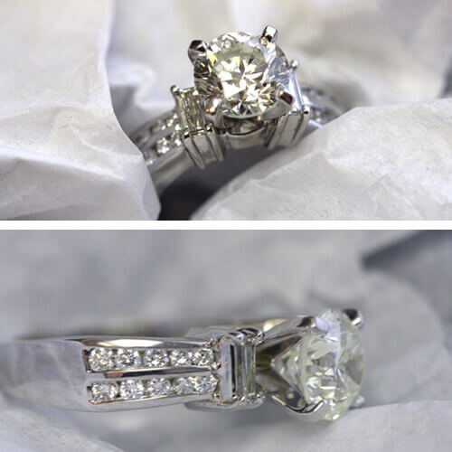 Diamond ring with double rows of diamond side accents