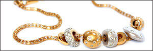 Gold necklace with platinum and gold diamond charms